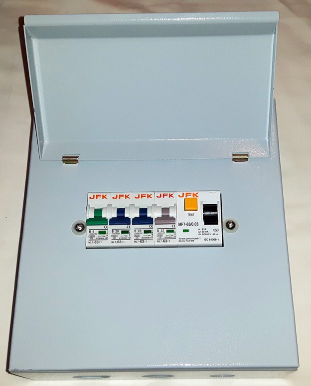 4 Way Metal Consumer Unit + 30mA RCD